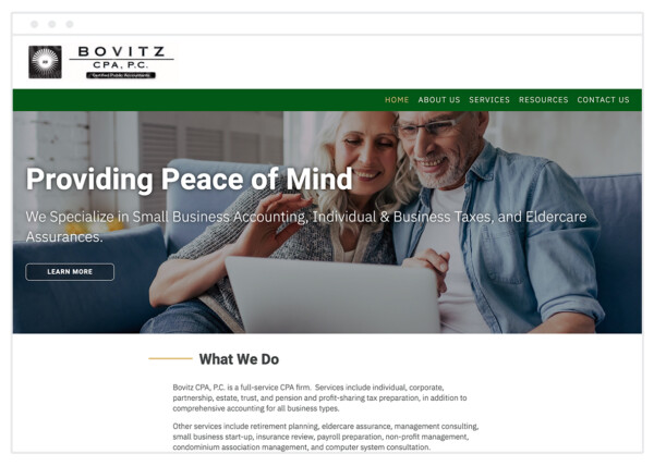 accounting firm chose a hero image featuring customers