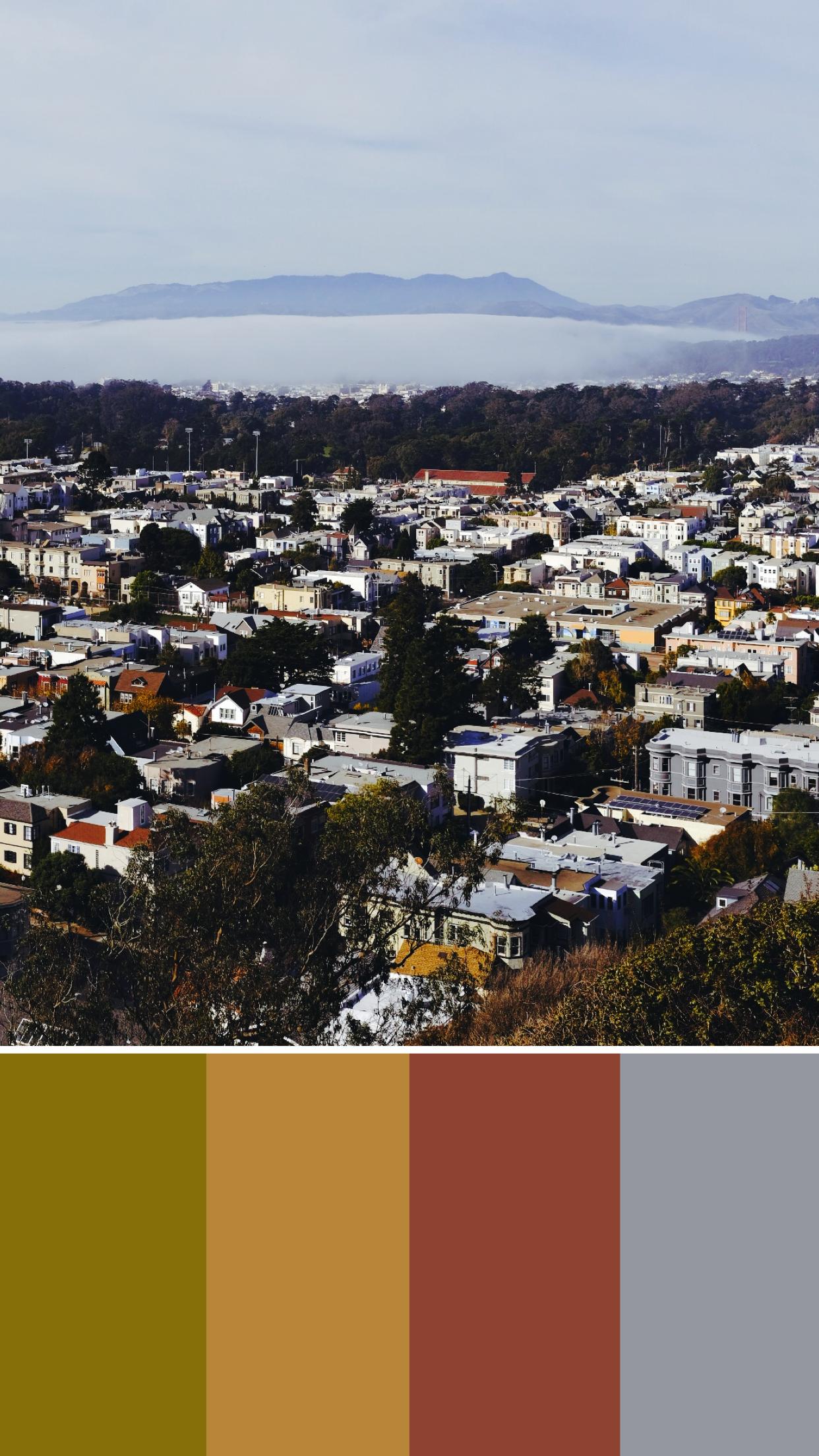 warm color scheme small town