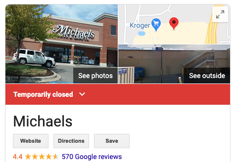 Google My Business shows if you are open for business