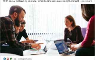Linkedin post describing social distancing with businesses