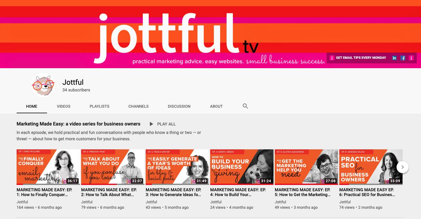 Jottful YouTube channel