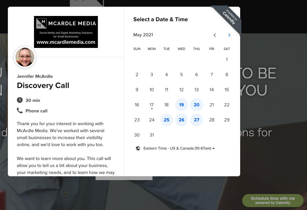 Calendly widget on website