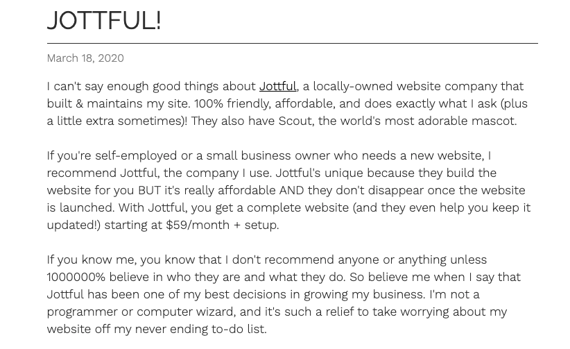 Hoxie even wrote a blog post about Jottful