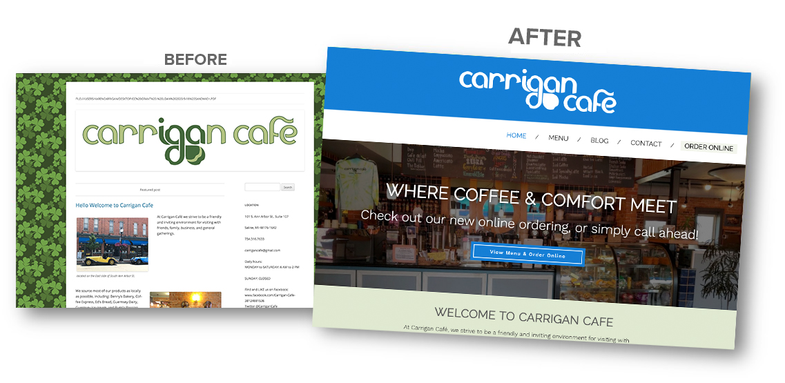 before and after Carrigan Cafe